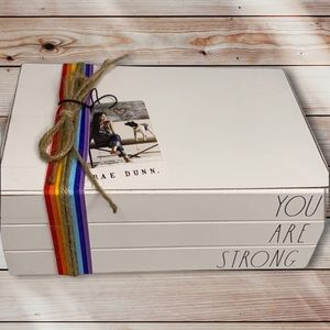You are strong RAE DUNN wooden rainbow book stack